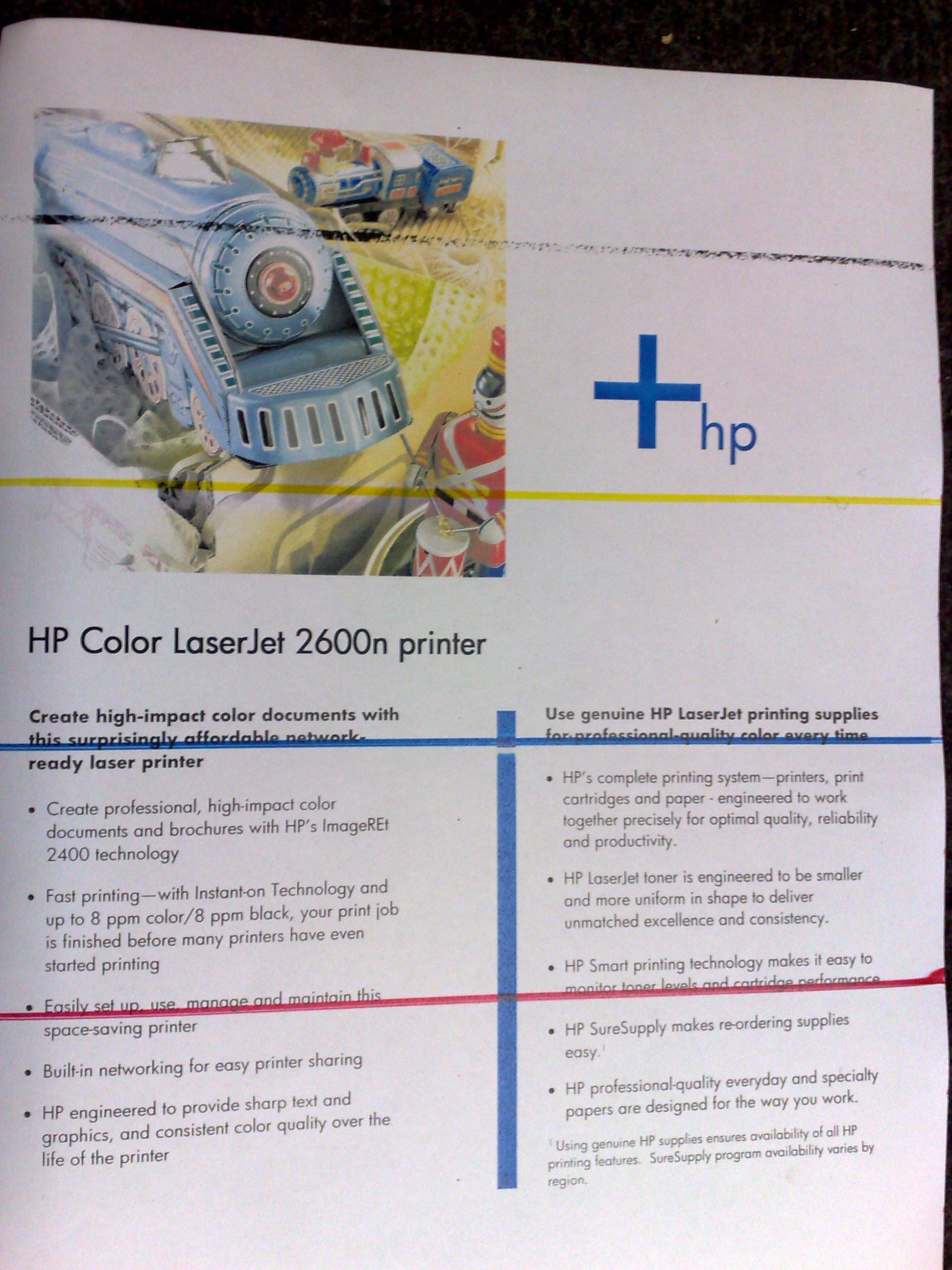 HP LaserJet 2600n - HP Color LaserJet 2600n poziome paski