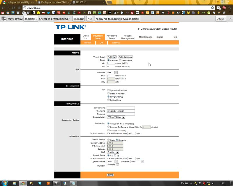 Konfiguracja Routera TP-LINK TD-W8901G
