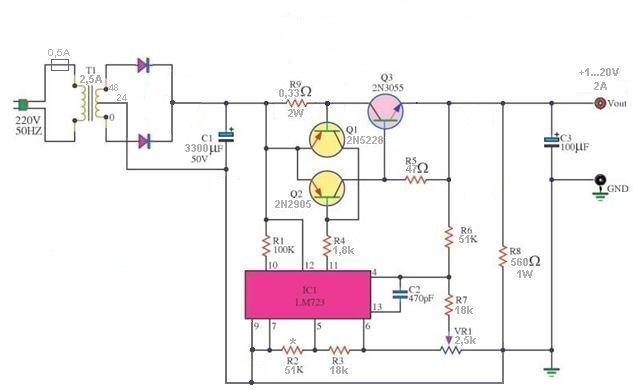 Schemat uk�adu ze stabilizatorem LM317T