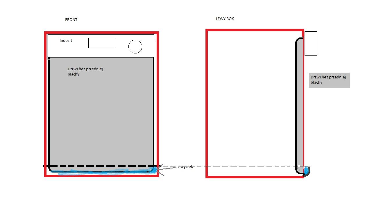 Zmywarka/Indesit/DG5345W - Wyciek przez drzwi, prawy dolny r�g.