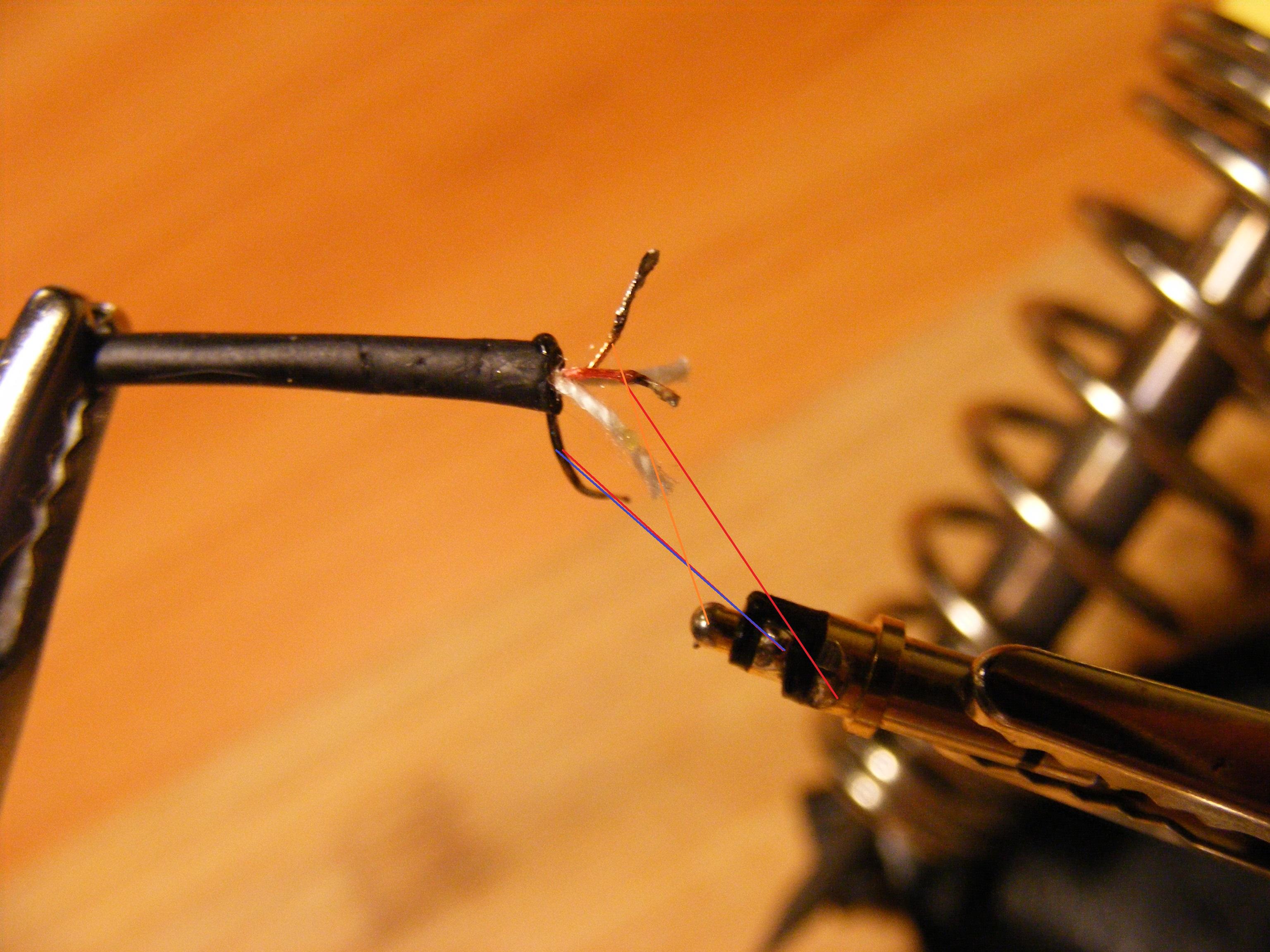 lutowanie kabla od słuchawek 2 kanały plus masa do ...