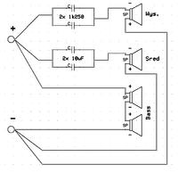 schemat podłączenia głośników do zwrotnicy