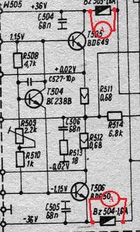 Amplituner RADMOR 5412 - Spalone bezpieczniki BZ504 i BZ503