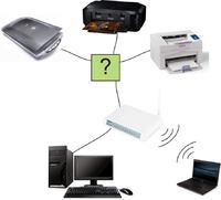 Laptop + Stacjonarka  + 2 drukarki i skaner ?  jak po��czy�?