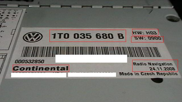 rns-510 ver B 1T0 035 680 B HW: H03 SW: 0900 aktualizacja firmware z