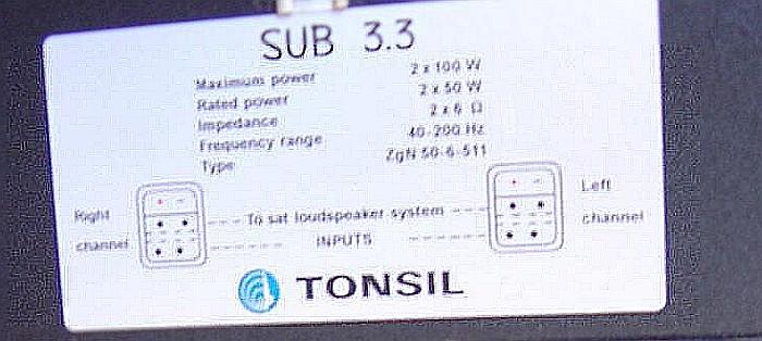 Wzmacniacz do subwoofera. Amplituner Panasonic sa-he70.
