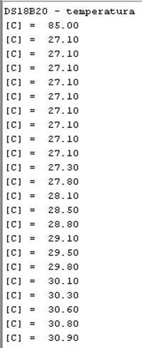 MikroC - PIC16F628A - formowanie wyniku z DS18B20 do wysłania po UART