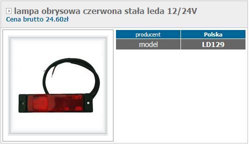 Lampa obrysowa czerwona sta�a leda 12/24V