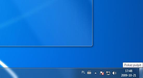 """przywr�cenie """"Poka� pulpit"""" obok zegara w windows 7"""