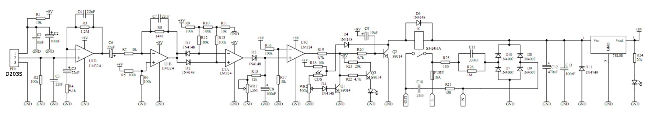 Schemat Lampy Halogenowej Z Czujnikiem Ruchu Born Elektrodapl