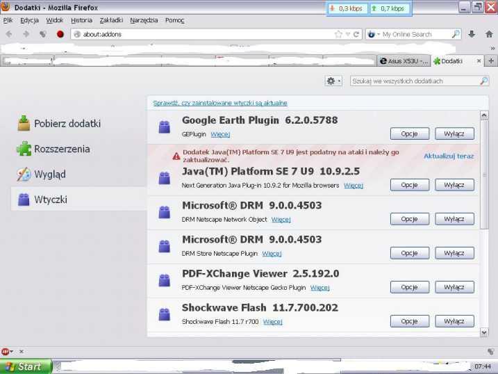Asus X53U - Flash Player powoduje maksymalny wzrost CPU
