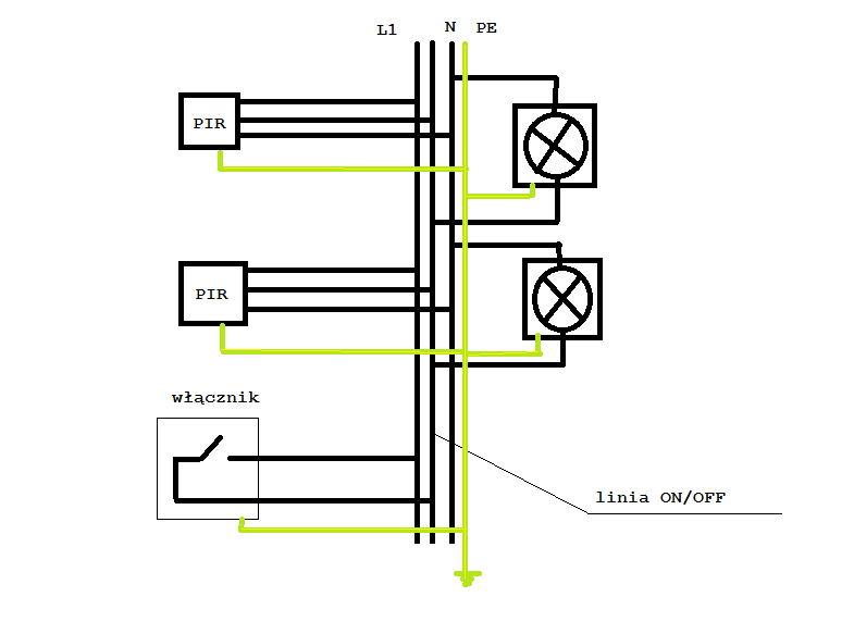 jak podłączyć lampy ogrodowe z dwoma czujnikami ruchu