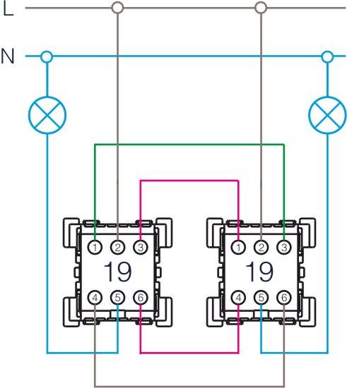 Połączenie Schodowe Podwójne Dwa Punkty I Dwie żarówki