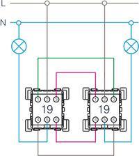 Połączenie schodowe podwójne - dwa punkty i dwie żarówki