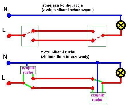 Przeróbka wyłączników schodowych na czujki ruchu (podtynkowe)