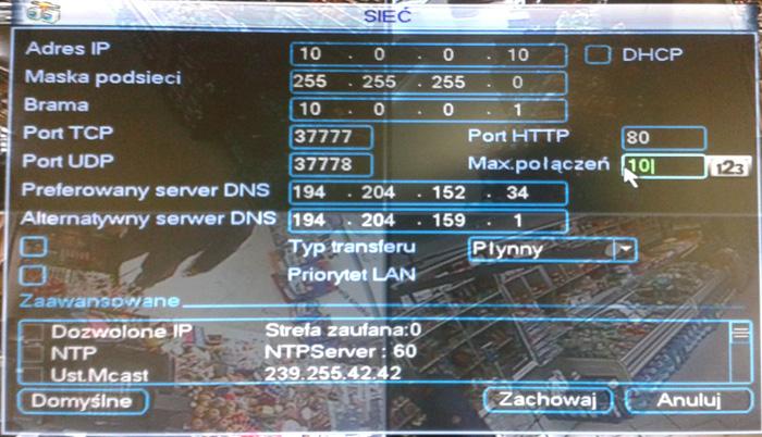 przekierowanie port�w do monitoringu poprzez internet.