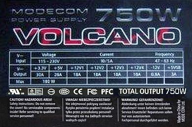 ModeCom model: VOLCANO 750W APFC obejście APFC dla UPS