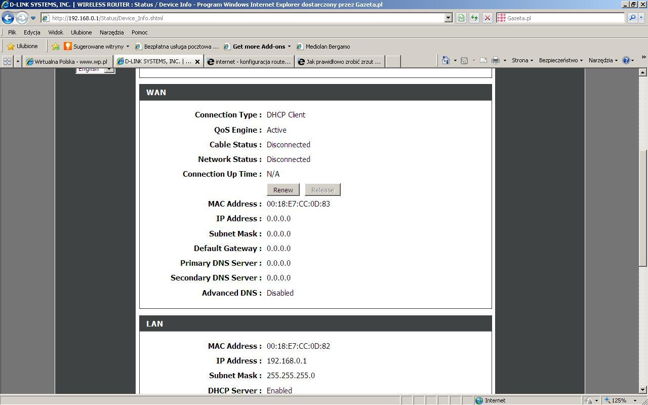 internet - konfiguracja routera d-link 365