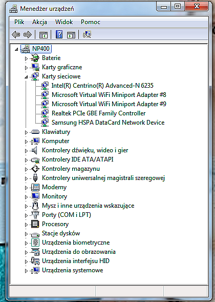 samsung np400 - MENAD�ER URZ�DZE� nie widzi Bluetooth