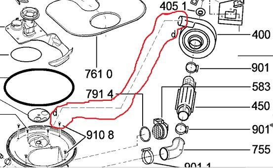 Whirlpool ADP5968 - Zamiennik rurki/uszczelki od pompki