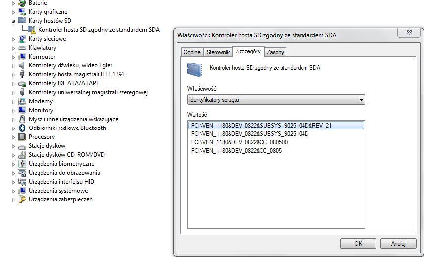 Sony Vaio Z21XN/B - Sterownik kontrolera hosta SD ( karta SD )