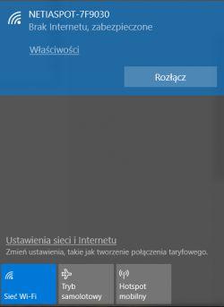 Netiaspot - internet jest po kablu, nie działa na wi-fi