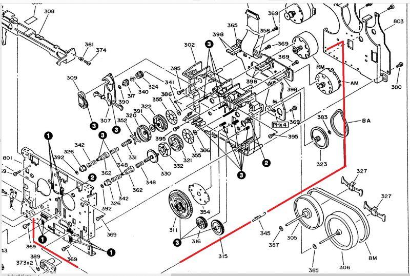 Magnetofon kasetowy Kenwood KX-3050 montaż mechanizmu, została sprężynka
