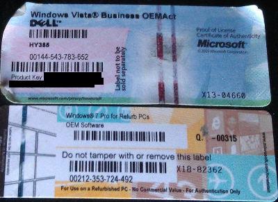 Windows 7 Refurb - Brak klucza na naklejce licencyjnej