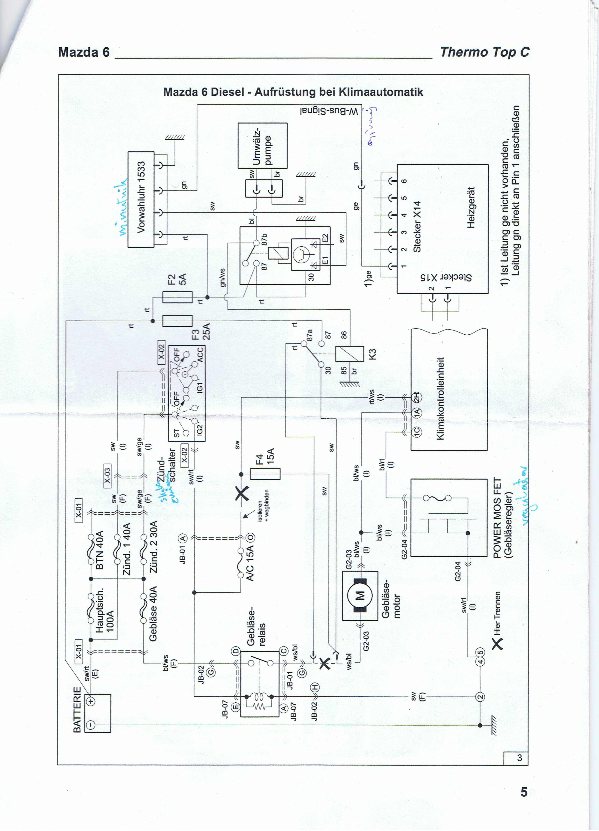 Схема диагностики для webasto