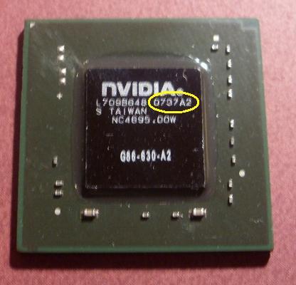Asus uszkodzona grafika na chipsecie nvidii 8600 gt.