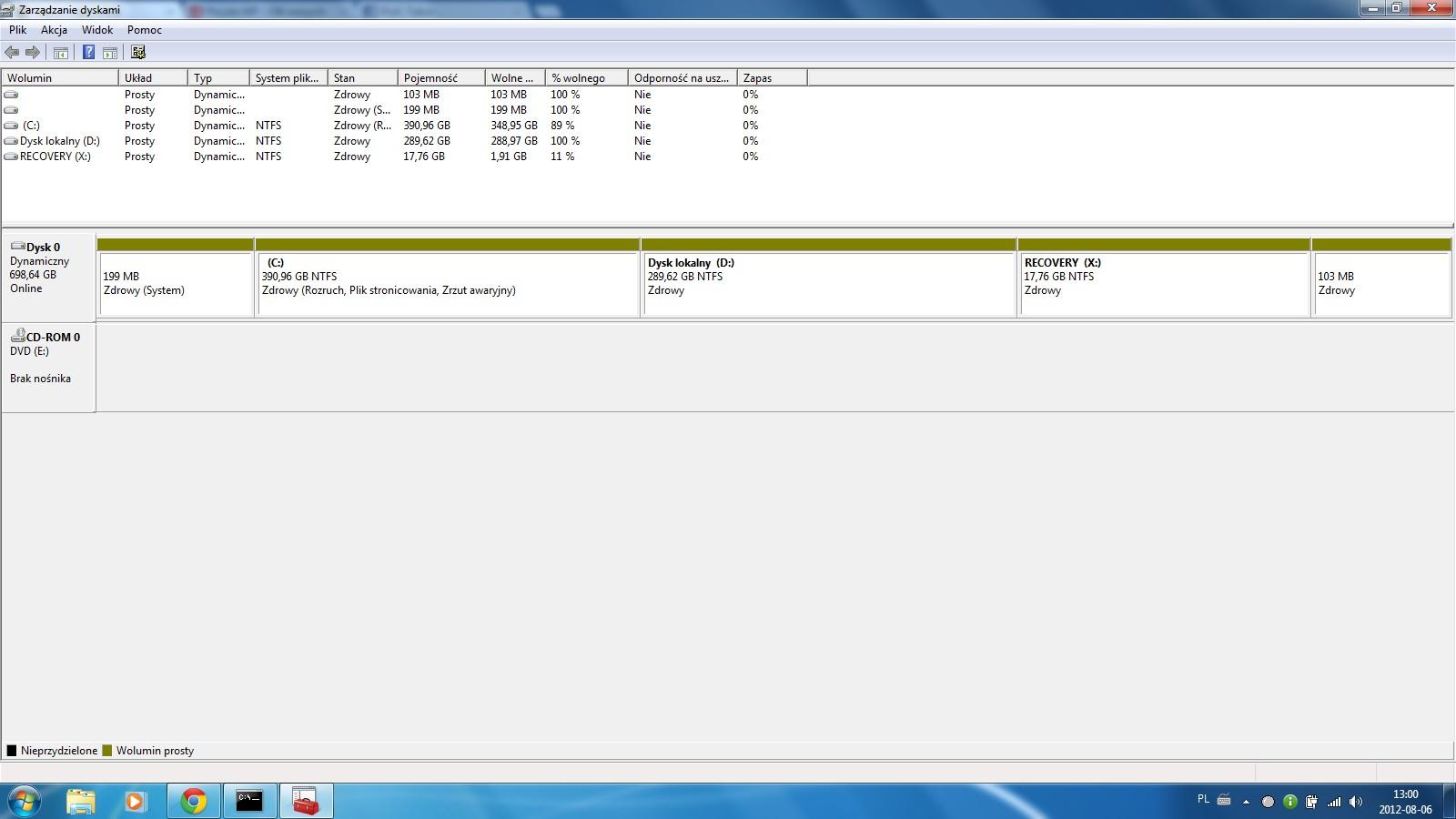 HP Pavilion - Zmiana litery partycji recovery - Win 7