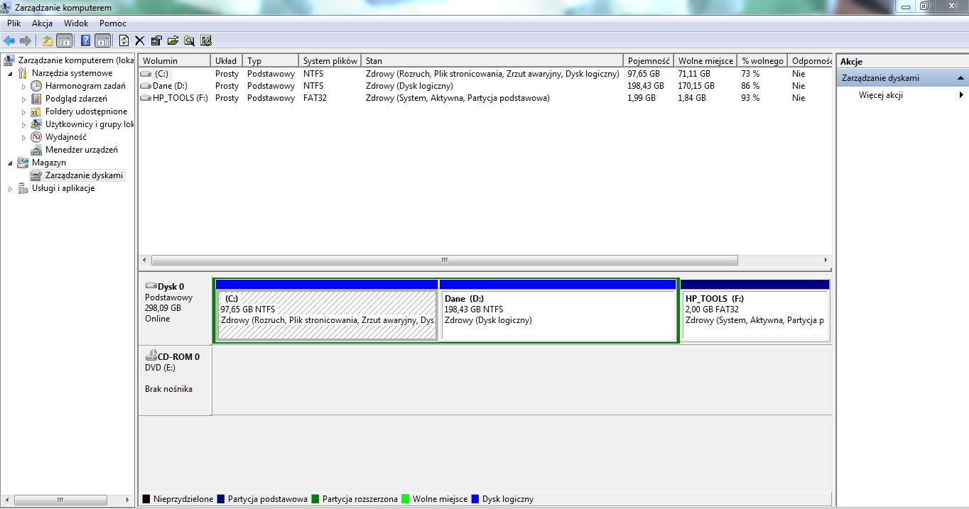 HP ProBook 4310s - wyb�r systemu przy starcie Windows 7 z dysku kt�rego nie ma
