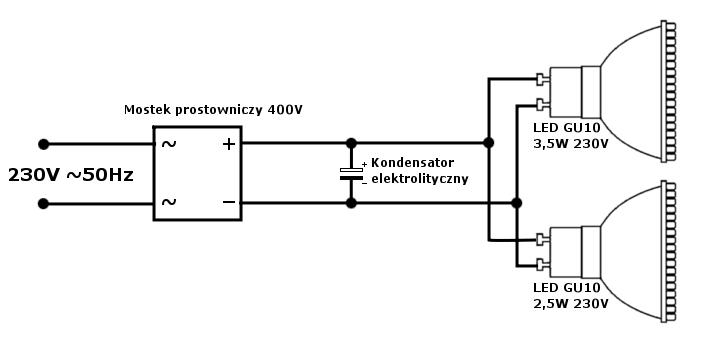 """Jak pozby� si� migotania fabrycznej """"�ar�wki"""" LED GU10 na 230V"""