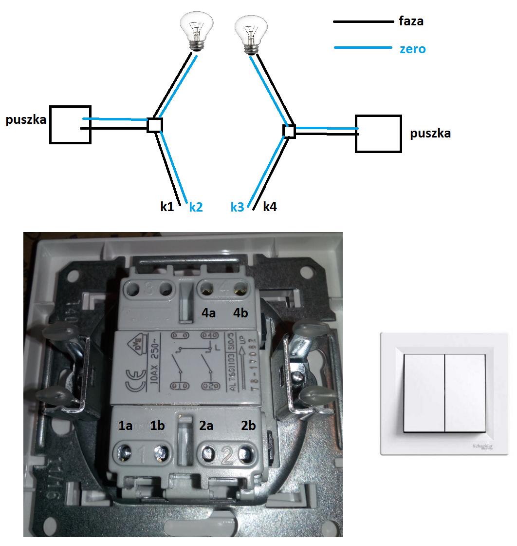 Podłączyć dwa włączniki światła jedno źródło zasilania
