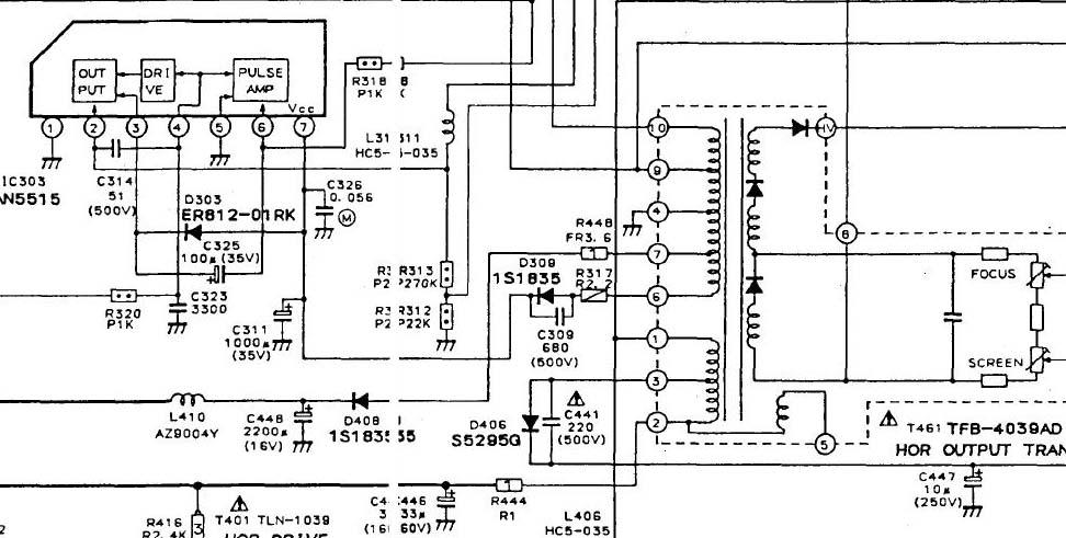 TV Toshiba 218D7S. Odchylanie pionowe. Bia�a pozioma linia n