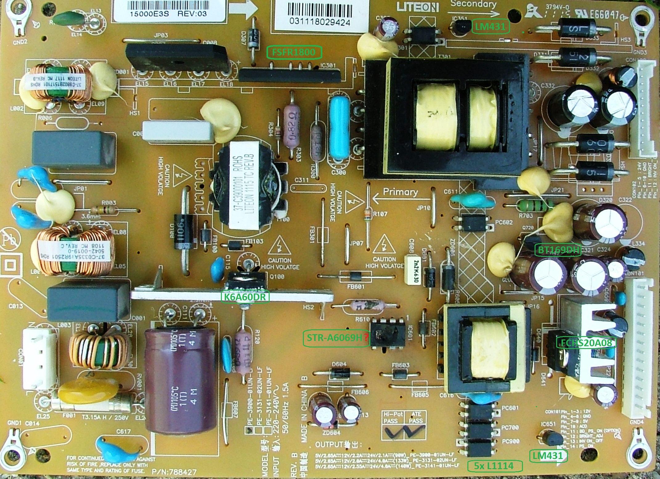 Toshiba 32EL833G - Uszkodzony zasilacz PE-3900-01UN-LF