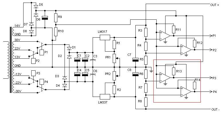Zasilacz symetryczny +/-36V na LM317 i LM337 - prze��czanie uzwoje�