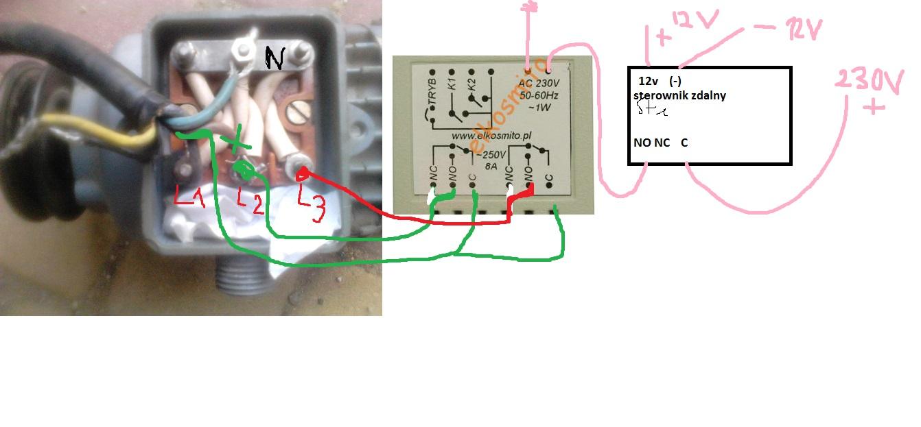 Zdalne sterowanie silnikiem 3-fazowym, odwracanie faz, jak pod��czy�?
