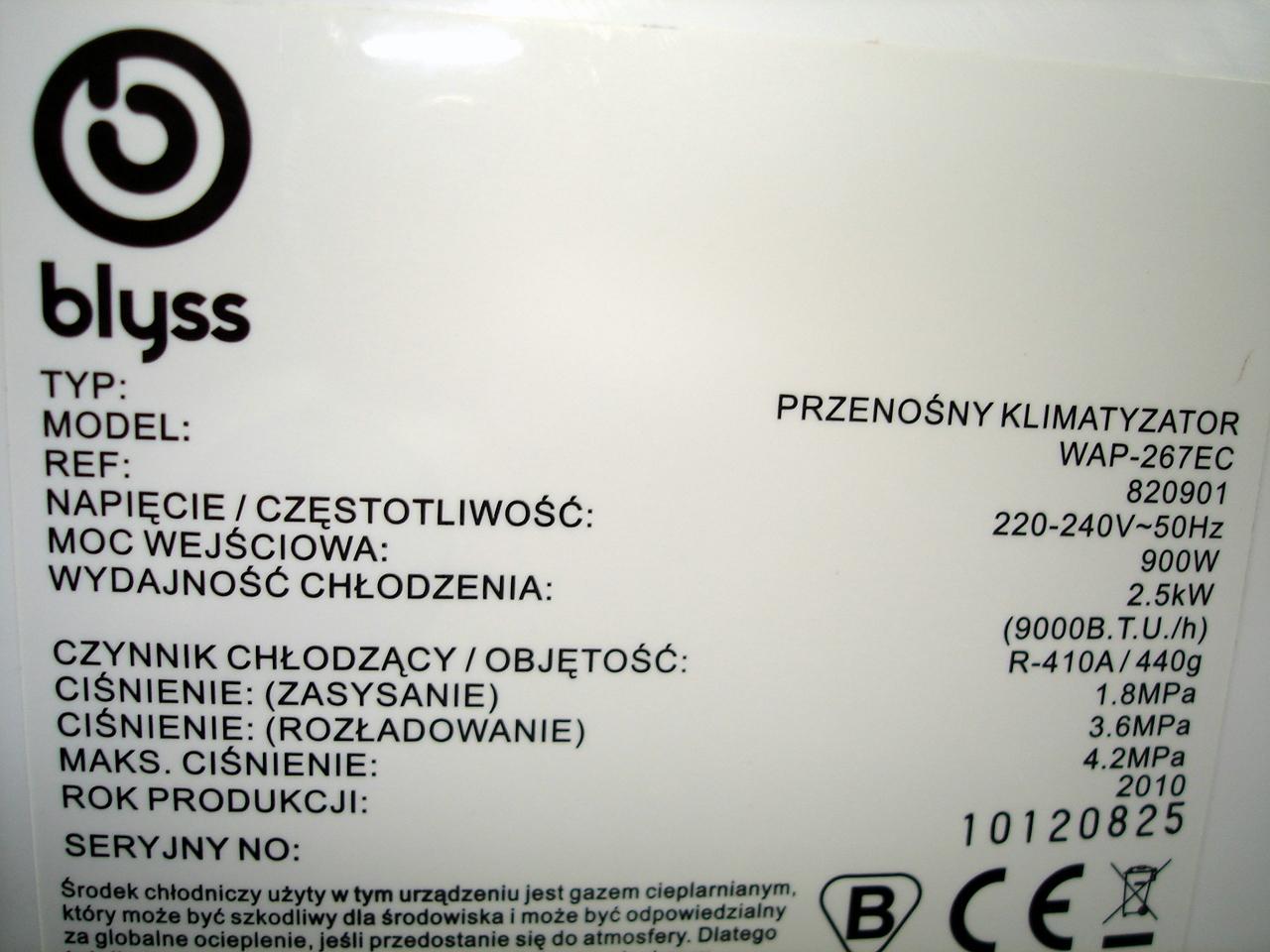 blyss wap 267ec - Klimatyzator przeno�ny + regulator ci�nienia skraplania