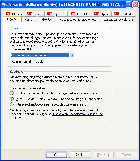 Windows XP rozdzielczość szwankuje
