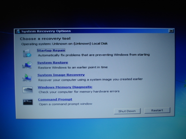 Windows 7 choose a recovery tool
