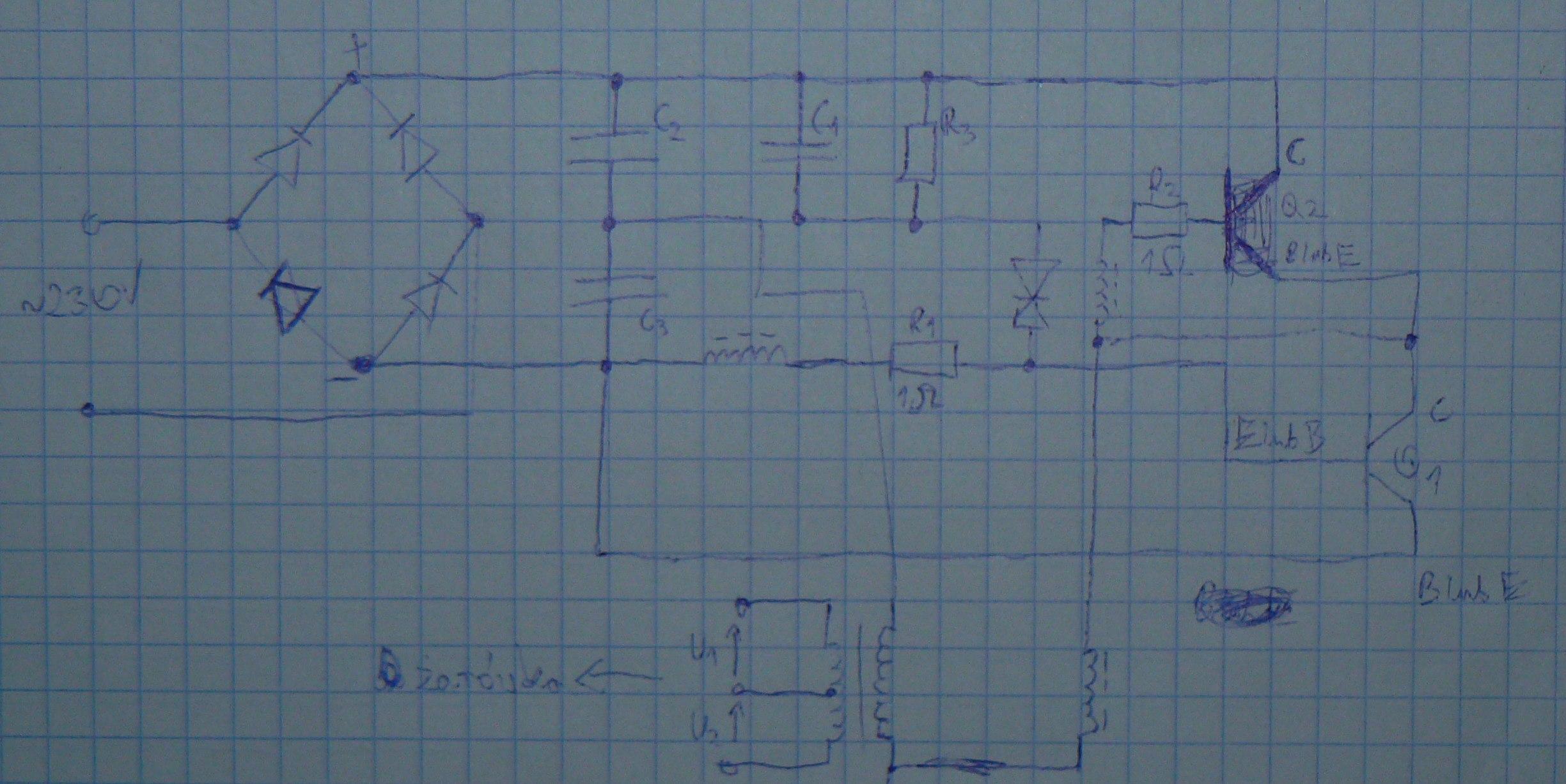Lampka biurkowa - popalone elementy w transformatorze elektronicznym