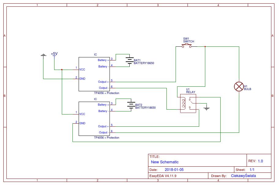 Ładowanie pakietu 2S 18650 przy pomocy dwóch TP4056 z użyciem przekaźnika
