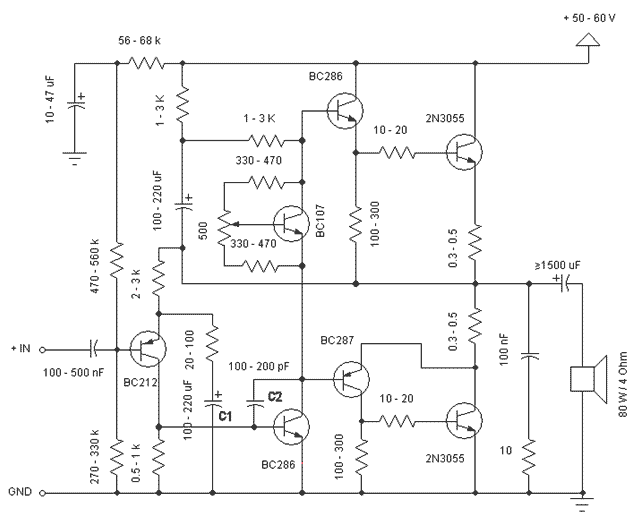 stereo amplifier of own construction
