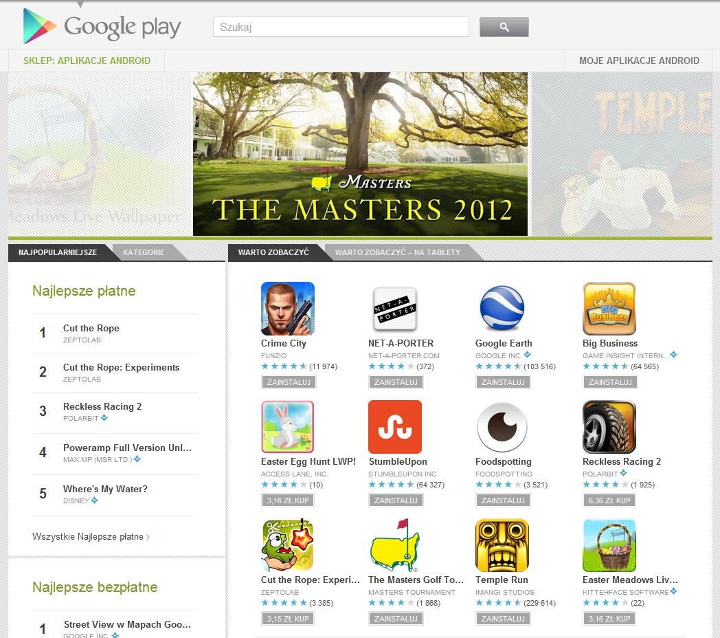 Zakupy w Google Play z poziomu aplikacji od teraz w z�ot�wkach