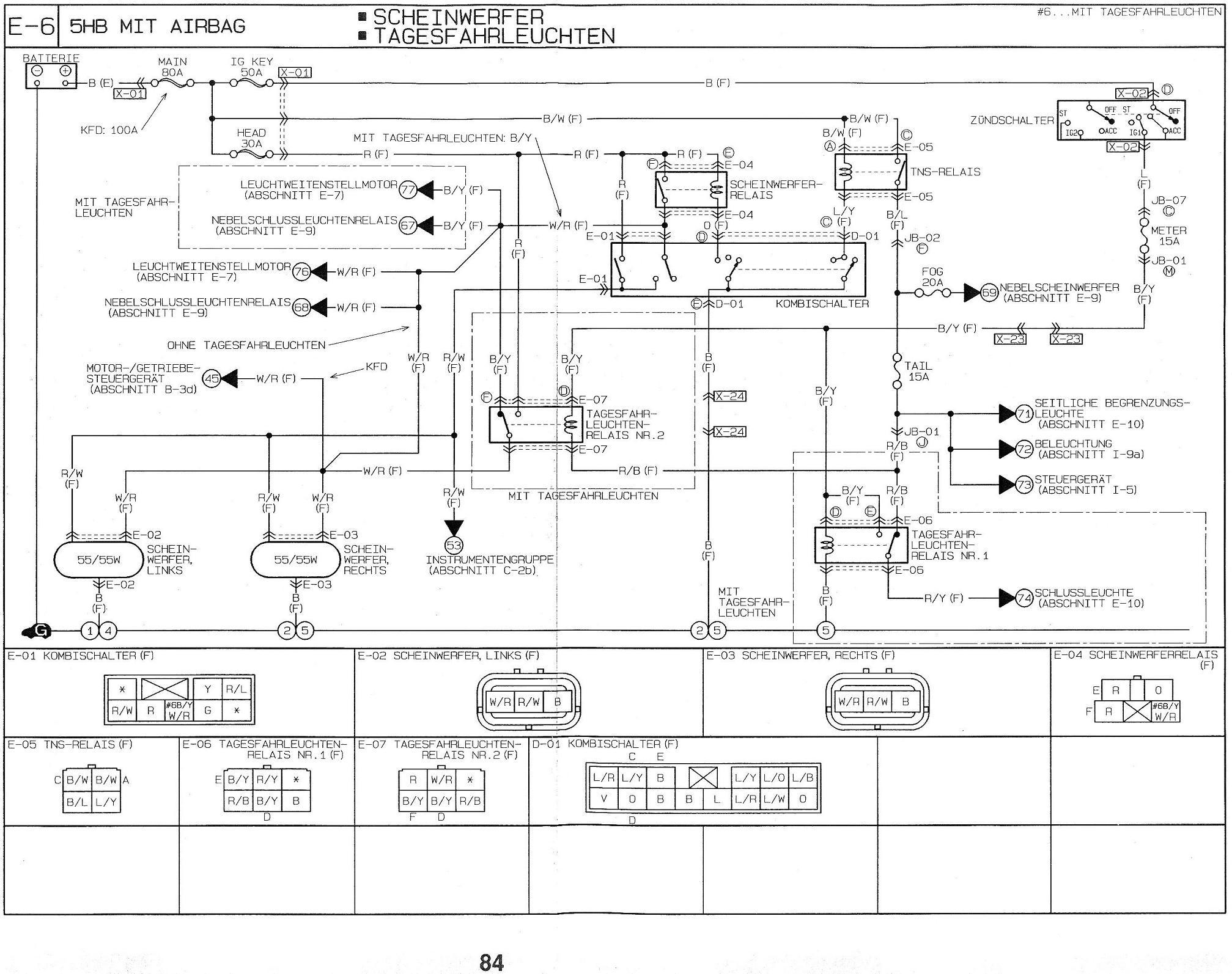 Mazda 323F - Pod��czenie halogen�w dalekosi�nych oraz swiate� drl w lampach dro