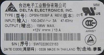 Delta Power Supply model:DPSN-150BP A Out 12V-13A for Cisco C3550 - robi zwarcie