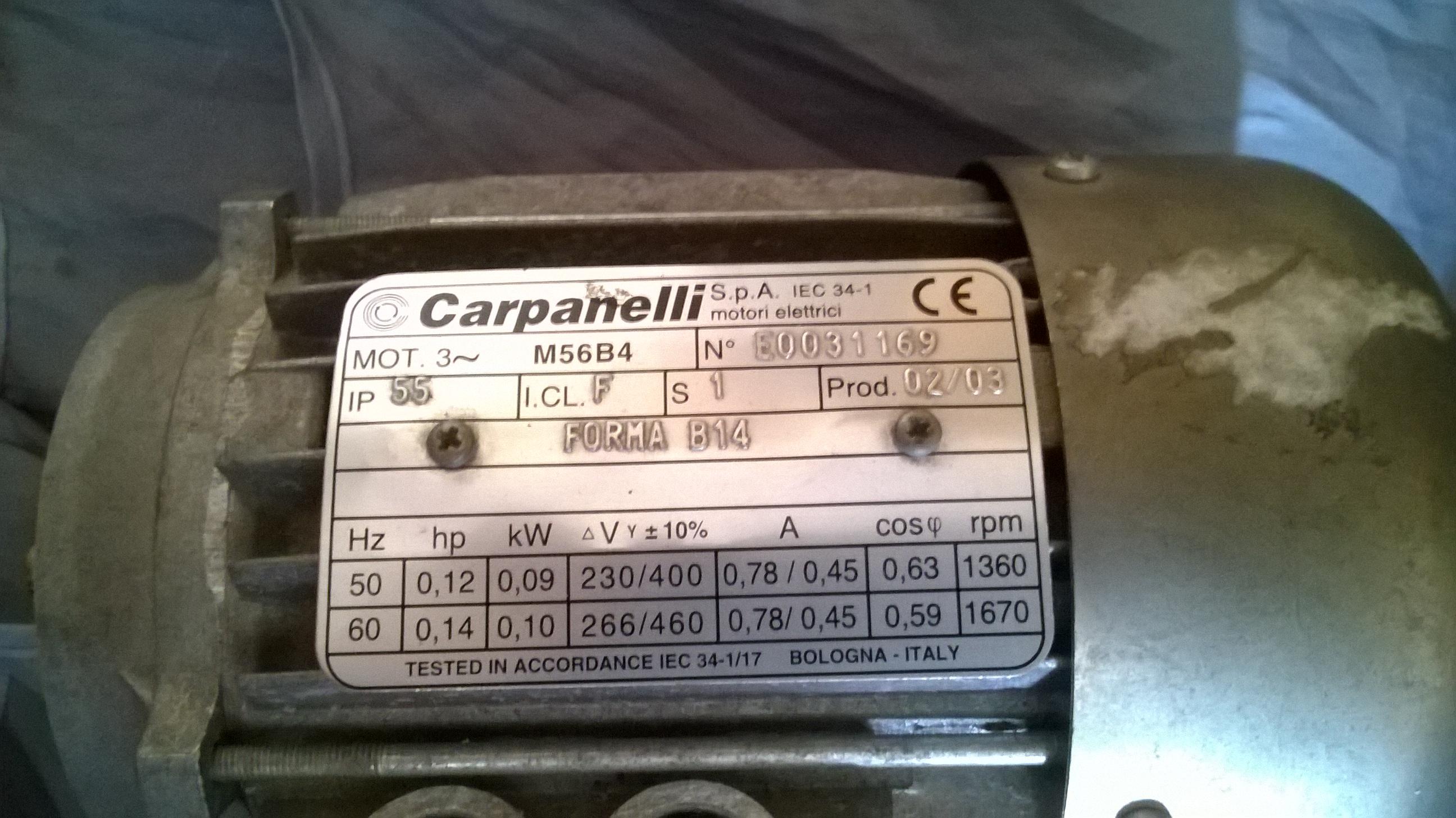 [Sprzedam] Silnik Carpanelli M56B4 plus motoreduktor