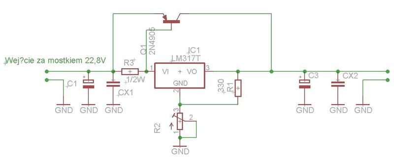 Zasilacz regulowany na lm317t + tranzystor na 6A