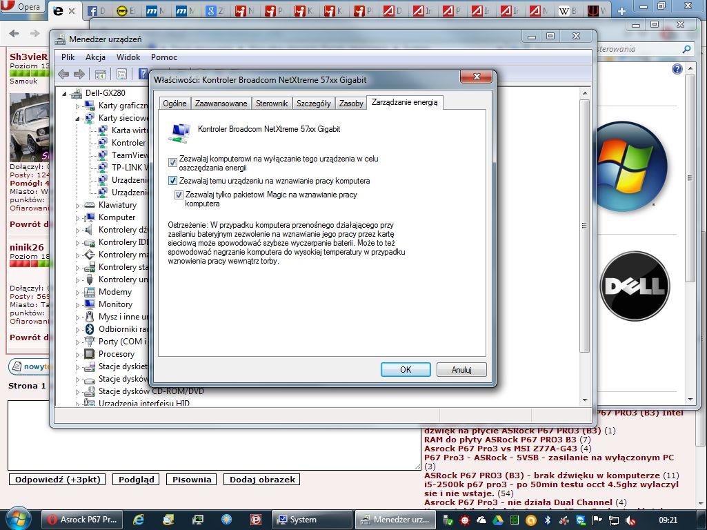 Asrock P67 Pro3 B3 - komp sam wstaje z hibernacji przez pod��czony LAN